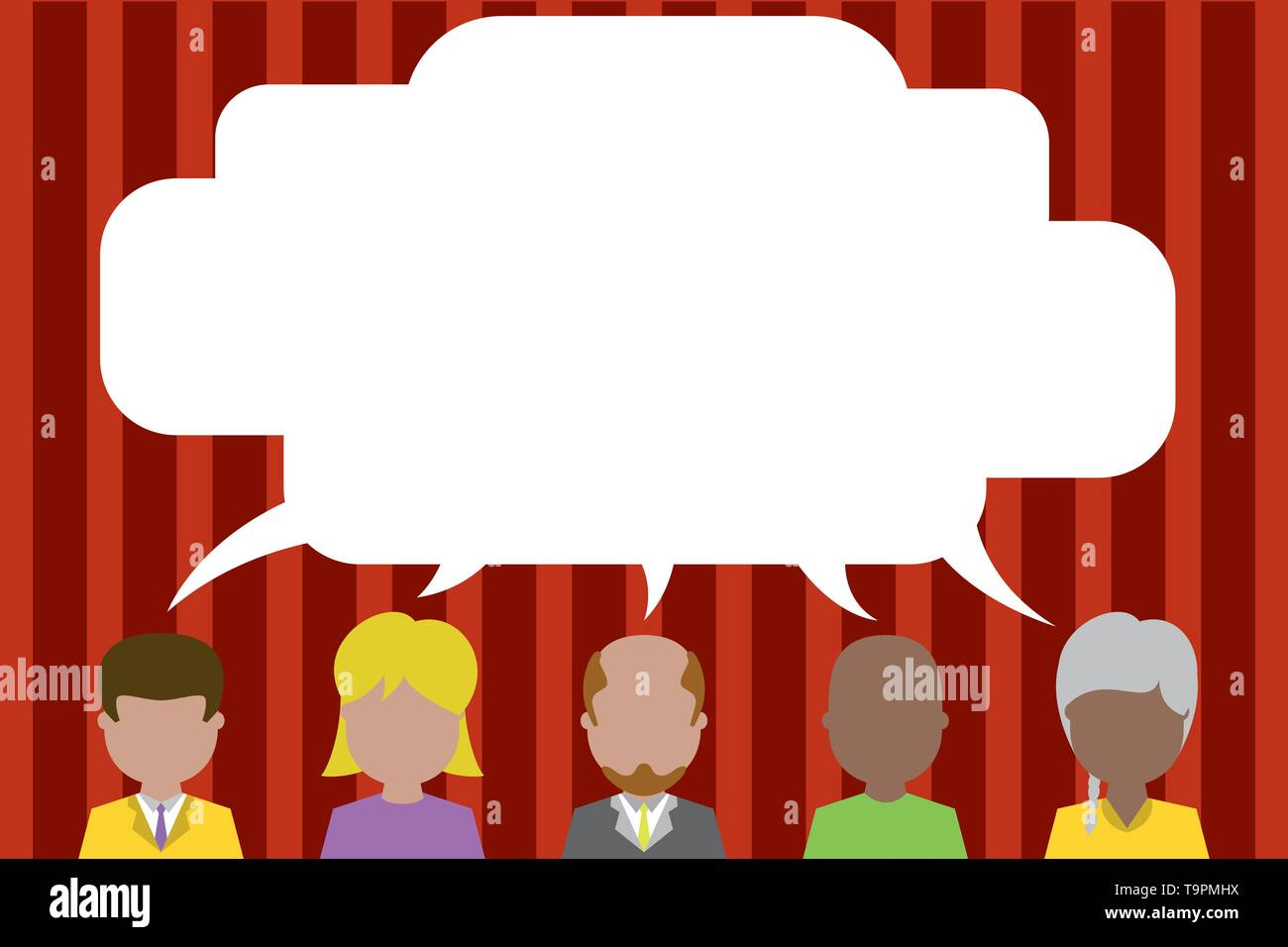 Five different races persons sharing blank speech bubble. People talking Business Empty template for Layout for invitation greeting card promotion pos - Stock Image