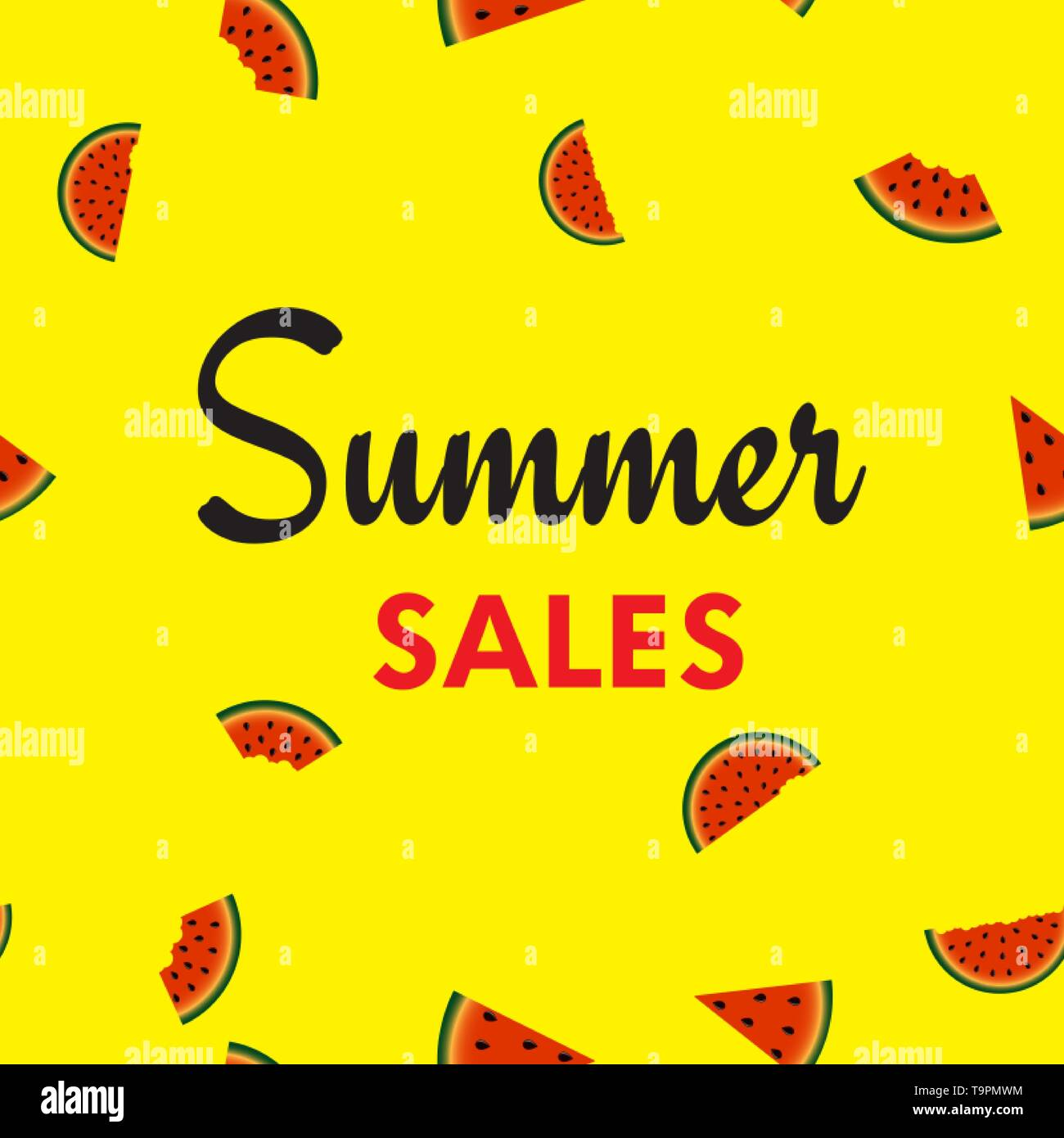 Summer sales card with watermelons slices. Vector. - Stock Image