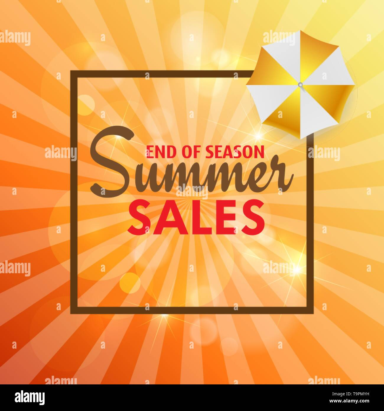 Summer sales card with palm leaves and sunshine. Vector - Stock Image