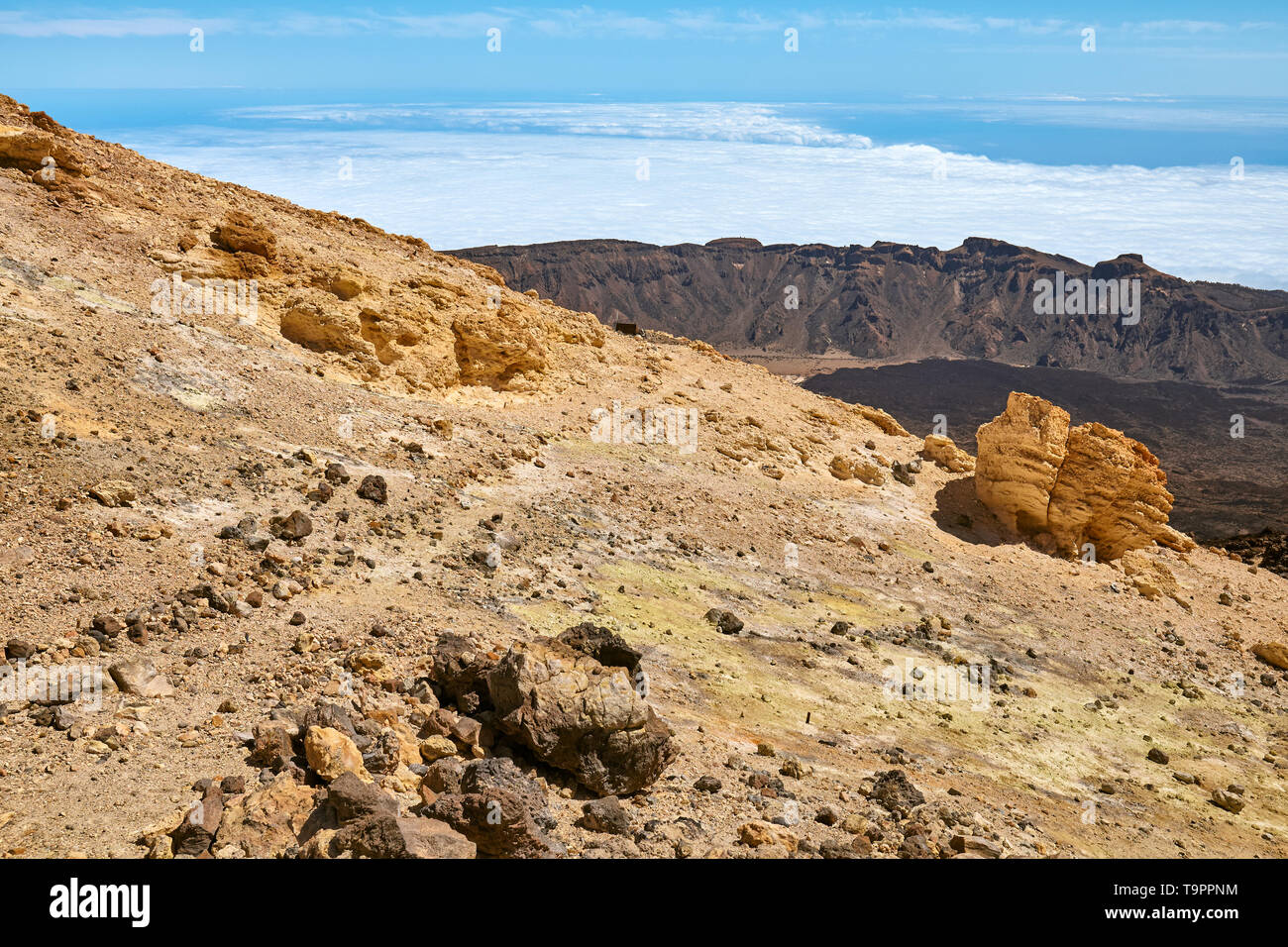 Top of the Mount Teide Volcanic scenery, Teide National Park, Tenerife, Spain. - Stock Image