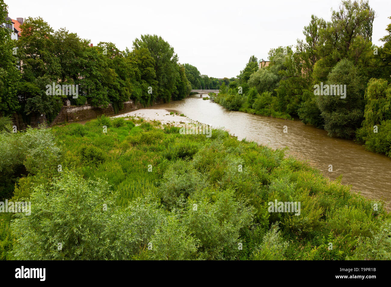 Isar River flowing through Munich, Germany - Stock Image