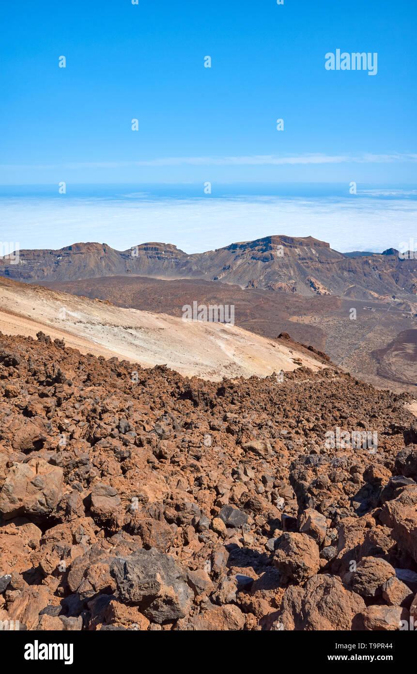 Mount Teide volcanic landscape, Teide National Park, Tenerife, Spain. - Stock Image