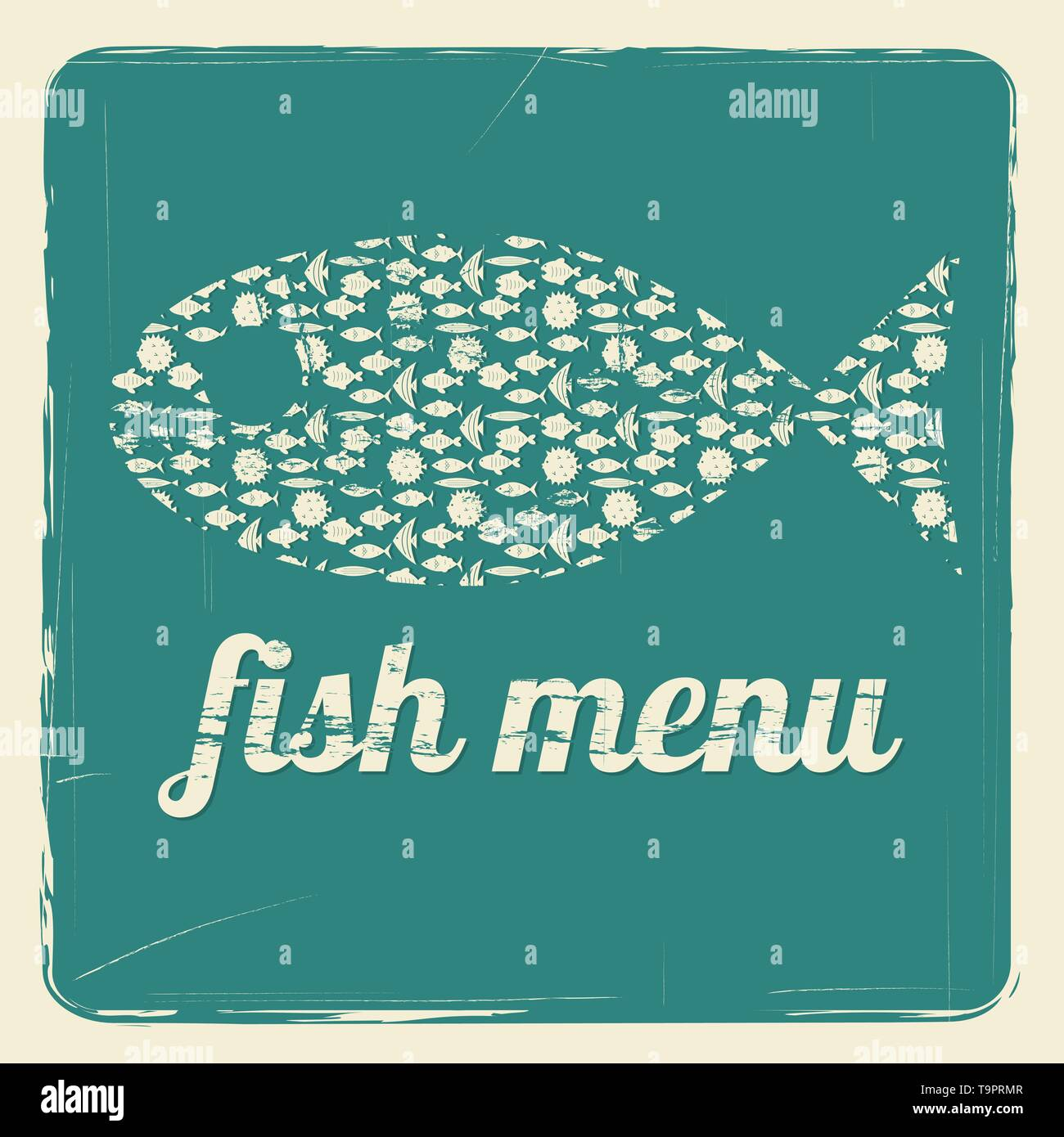 vector template for fish menu with retro effect - Stock Image