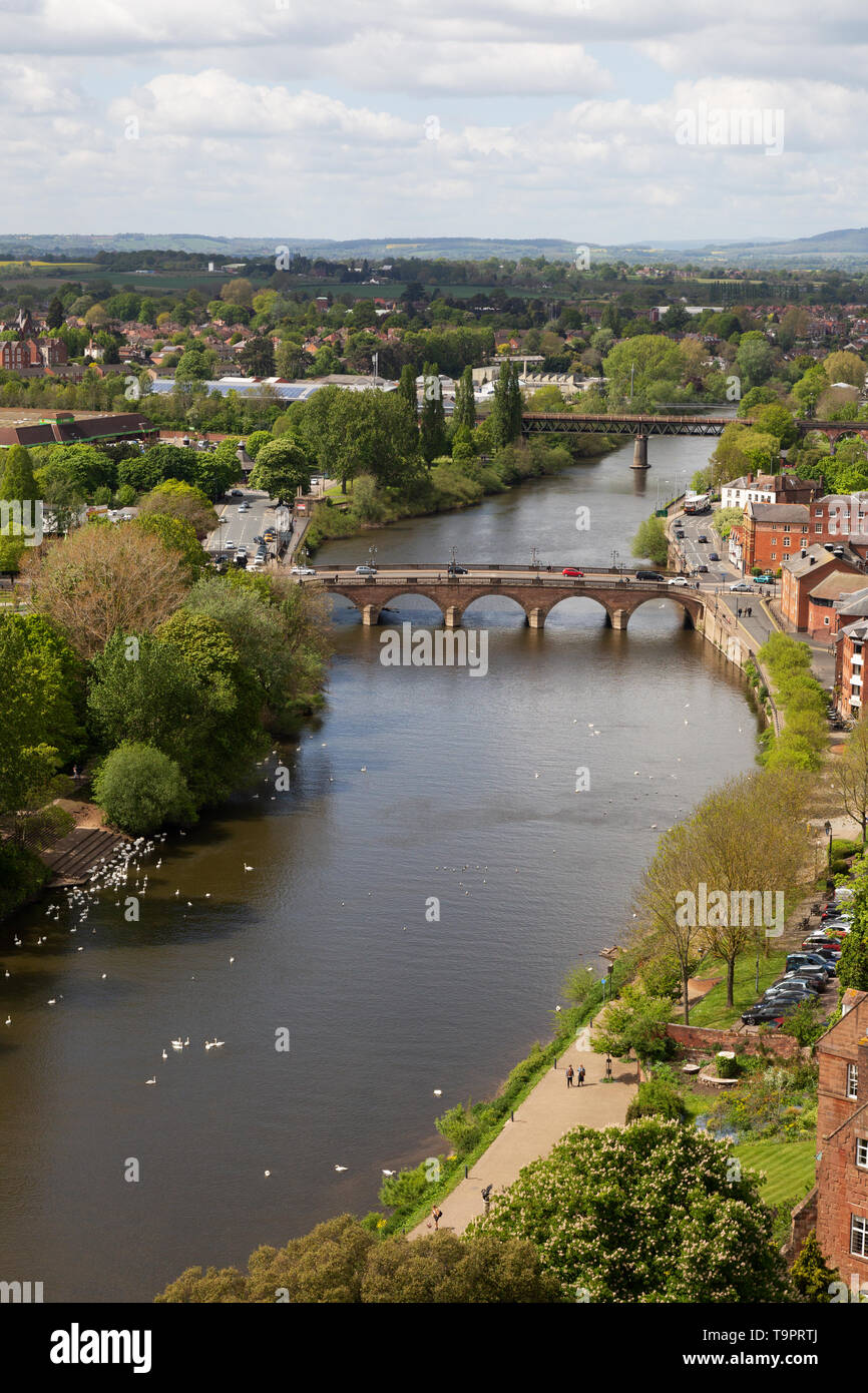 River Severn and Worcester Bridge at Worcester, Worcestershire UK - Stock Image