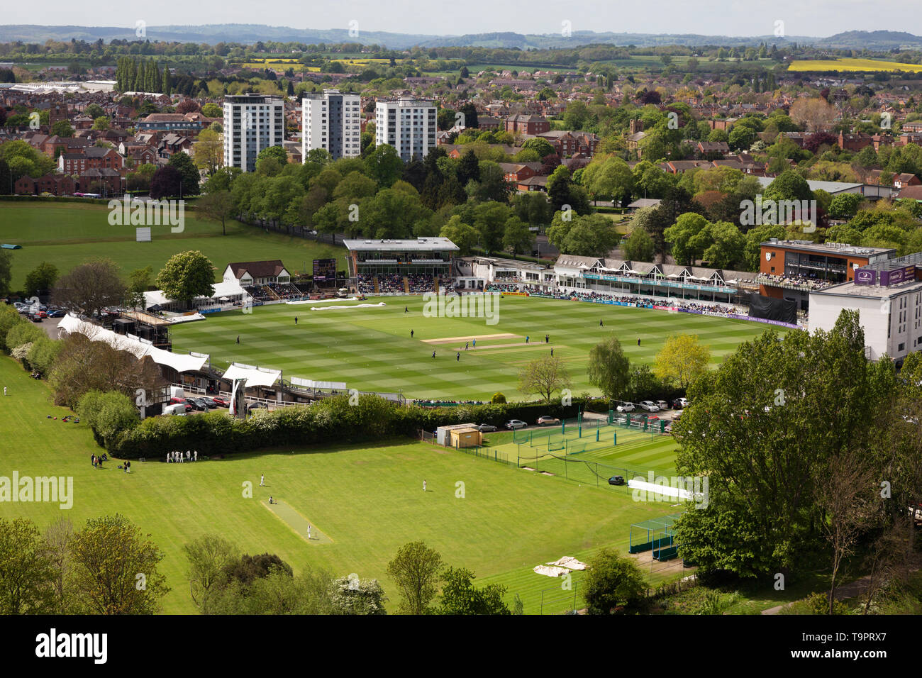 Worcestershire County Cricket Club - an aerial view of the cricket ground and a cricket match, Worcester, Worcestershire England UK Stock Photo