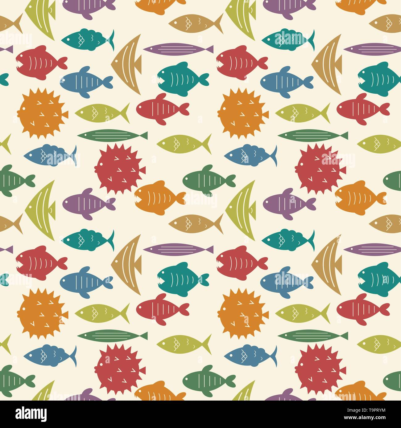 seamless pattern with colorful fish silhouettes vector background - Stock Image
