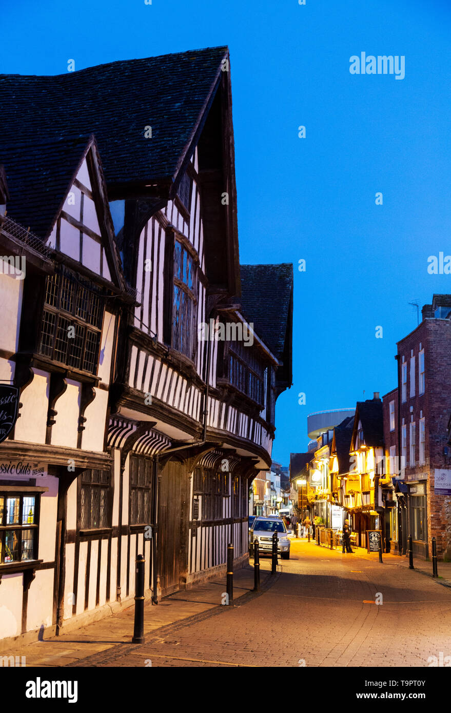 Friar street Worcester UK at night, medieval street with 15th century black & white tudor buildings, Worcester city centre, Worcestershire England UK - Stock Image