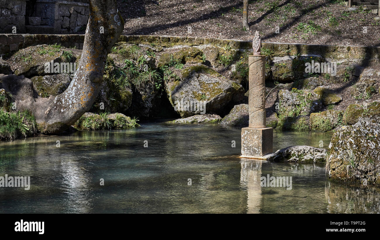 Birth of the Ebro river in the village of Fontibre, Cantabria, Spain - Stock Image