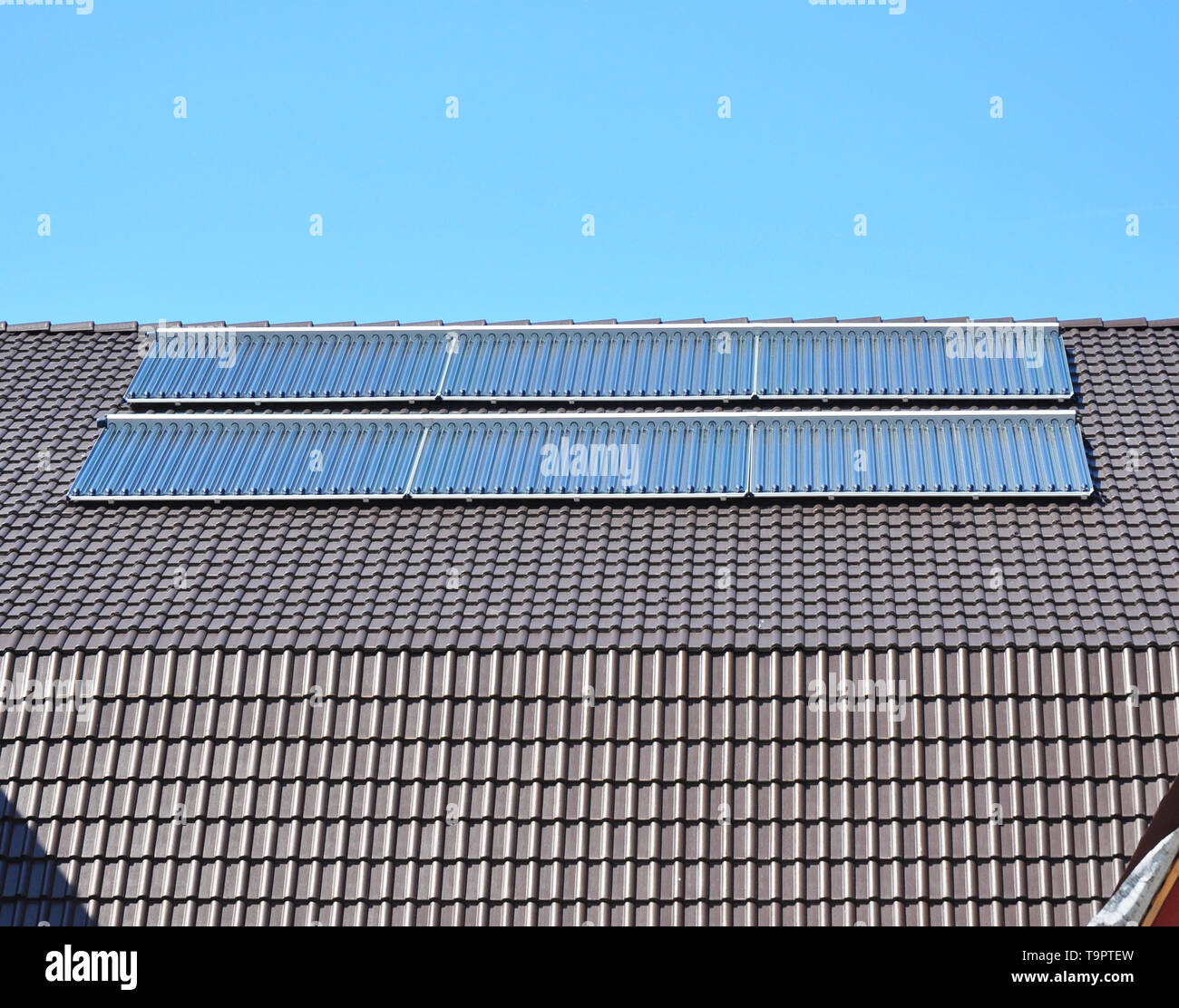Close up on Solar panels. Solar Water Panels Heating. - Stock Image