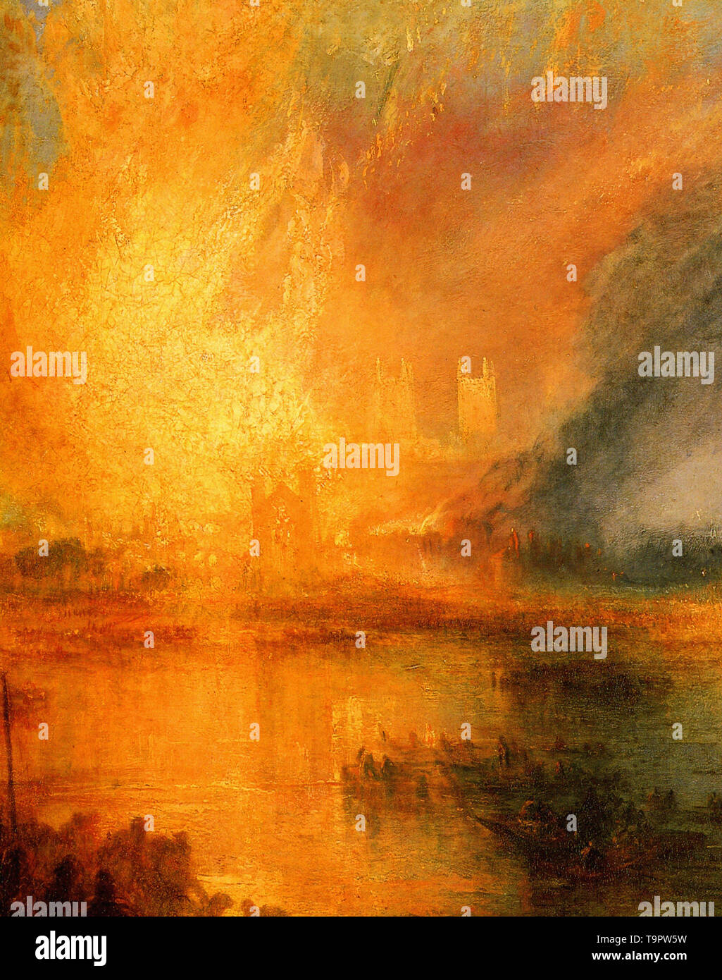 Joseph Mallord William Turner - burning houses parliament detail 1834 - Stock Image