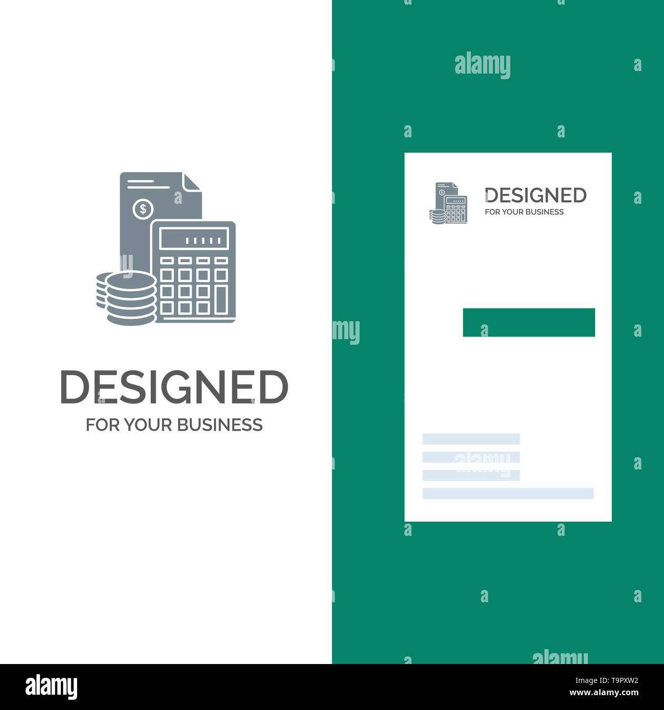 Investment, Accumulation, Business, Debt, Savings, Calculator, Coins Grey Logo Design and Business Card Template - Stock Image