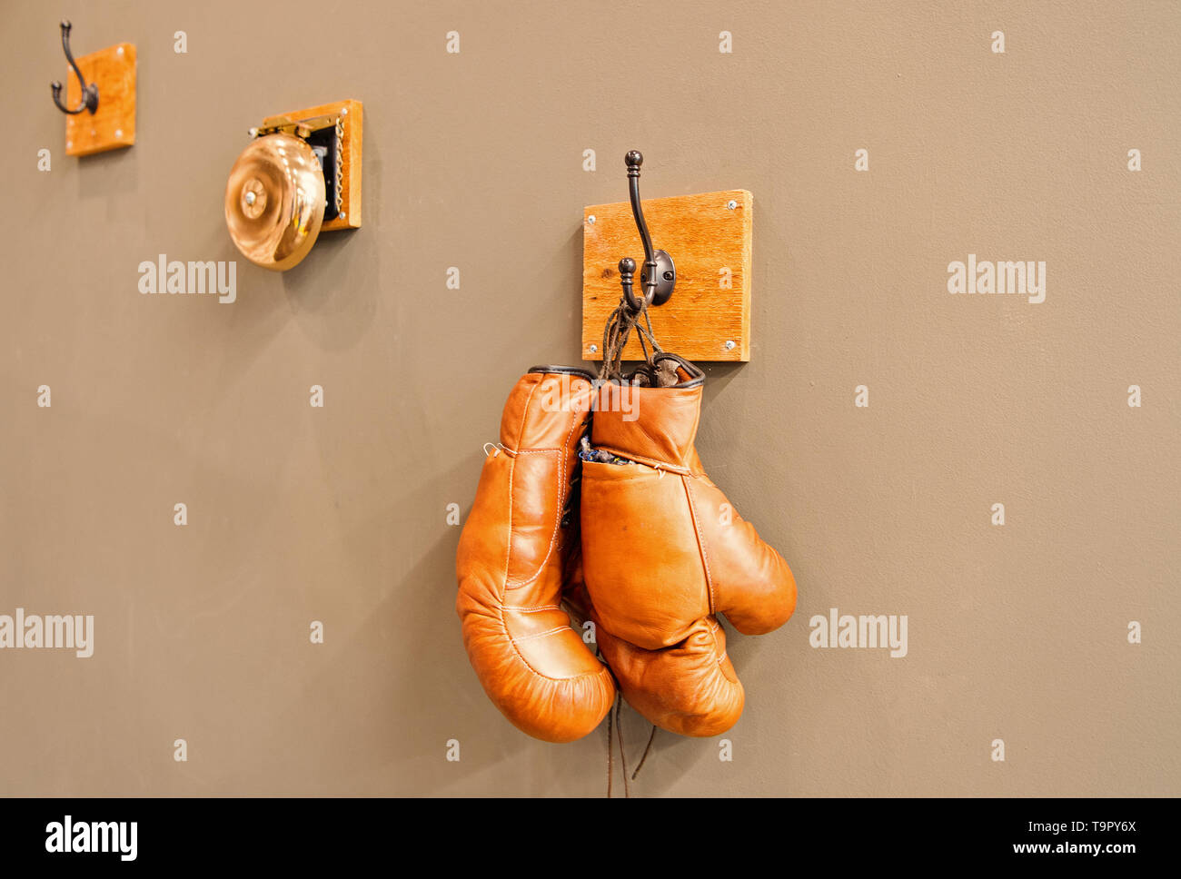 For all your boxing needs. Pair of retro sparring boxing gloves hooked on wall. Old protective sportwear for boxing matches and training. Boxing is a  Stock Photo