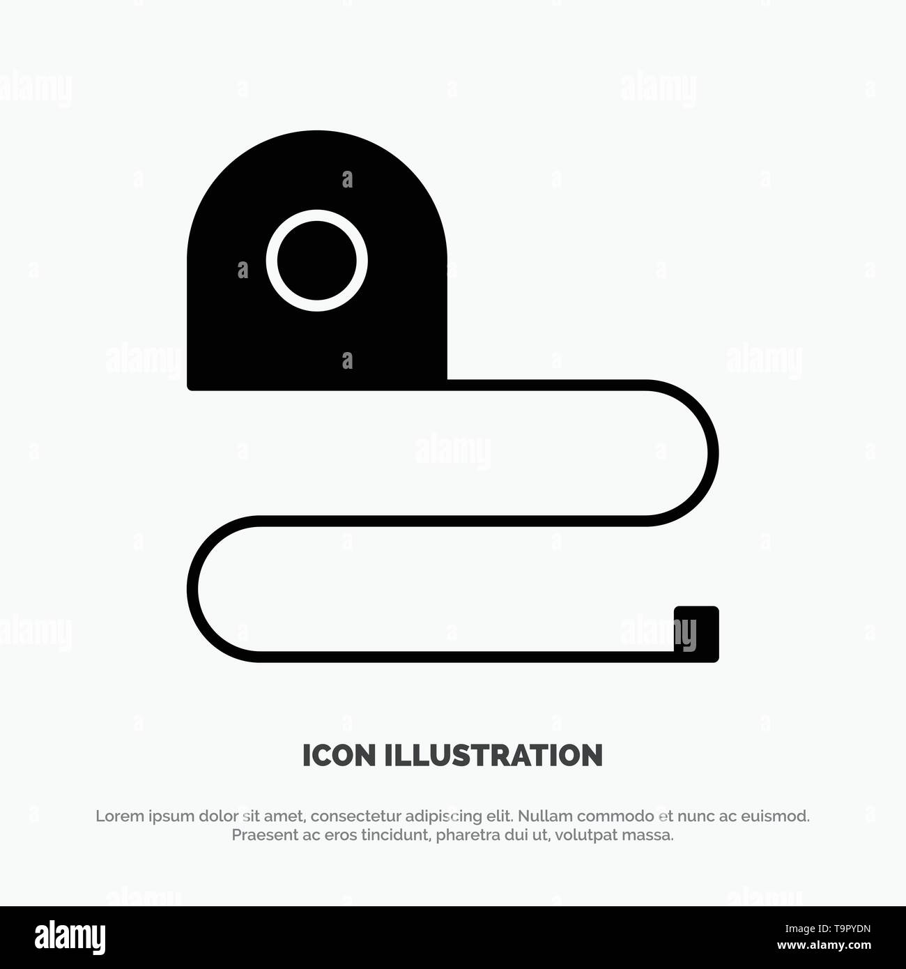 Construction, Measuring, Scale, Tape solid Glyph Icon vector - Stock Image