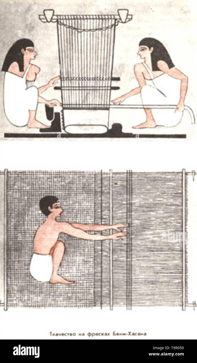 Weaving in ancient Egypt - Stock Image