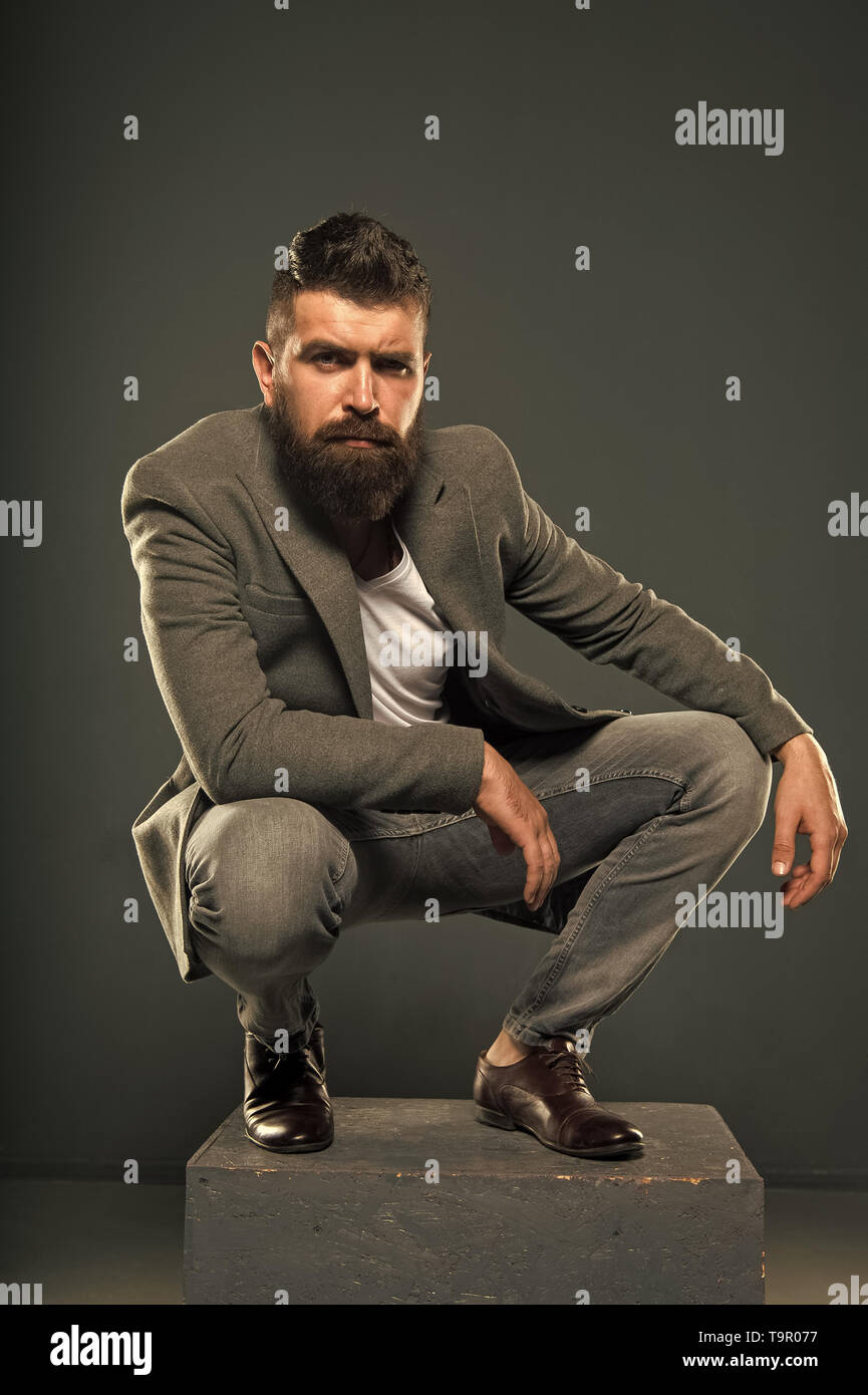 He has style. Stylish smart casual outfit. Menswear and fashion concept. Man bearded well groomed hipster stylish fashionable outfit. Comfortable and  - Stock Image