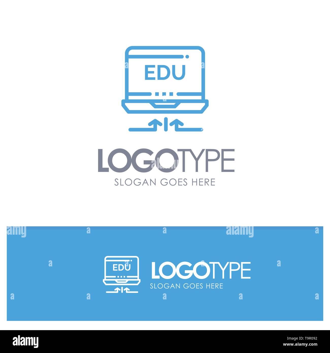 Laptop, Hardware, Arrow, Education Blue Logo Line Style - Stock Image