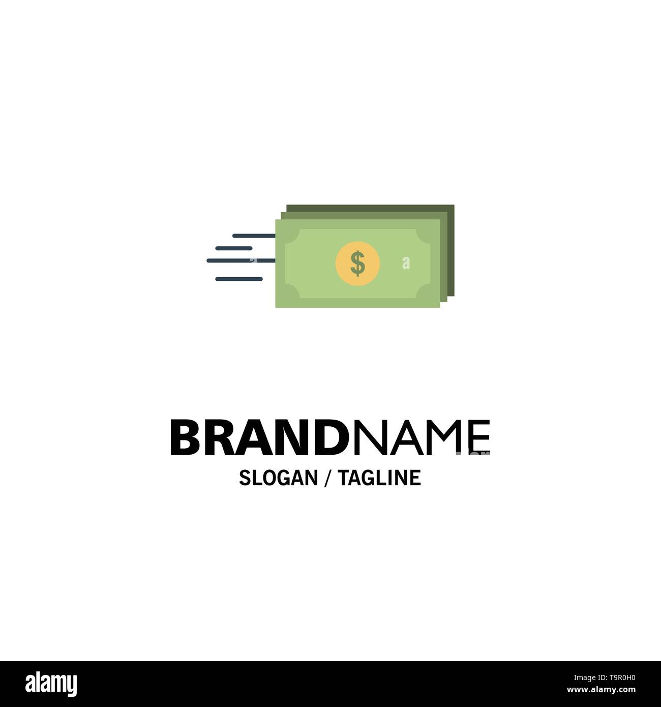 Dollar, Business, Flow, Money, Currency Business Logo Template. Flat Color - Stock Image