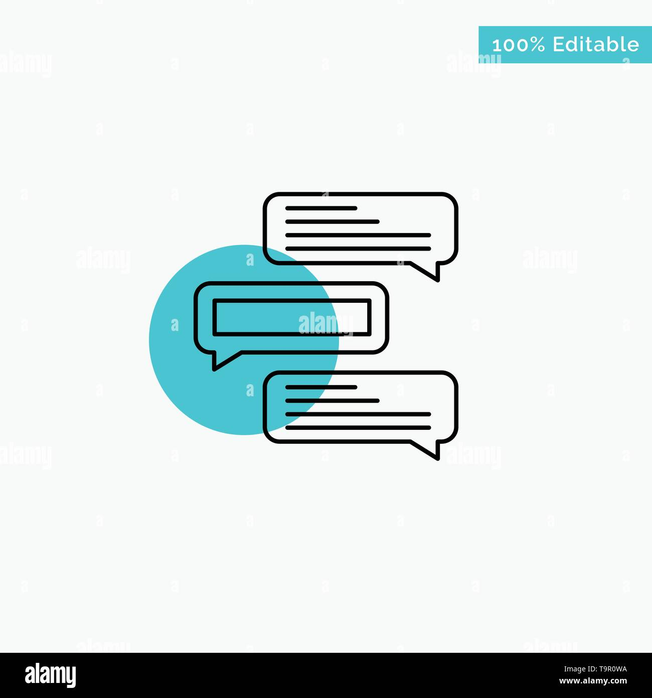 Chat, Bubbles, Comments, Conversations, Talks turquoise highlight circle point Vector icon - Stock Image