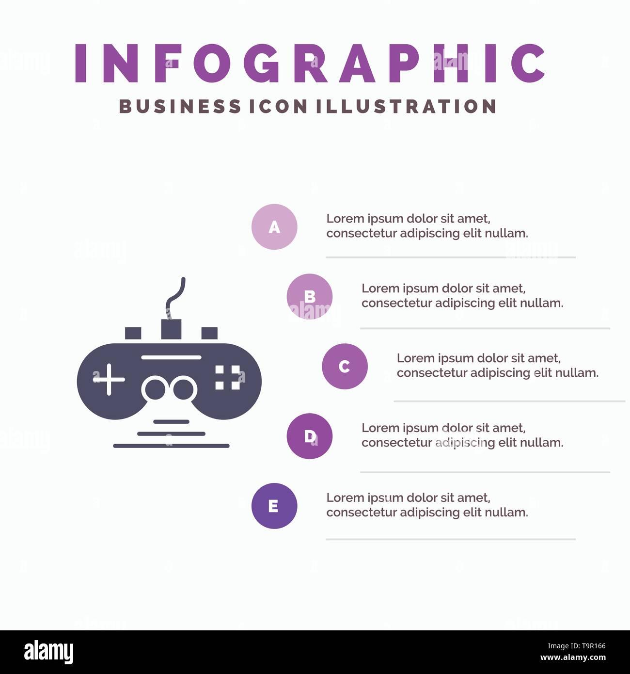 Controller, Game, Game Controller, Gamepad Infographics Presentation Template. 5 Steps Presentation - Stock Image