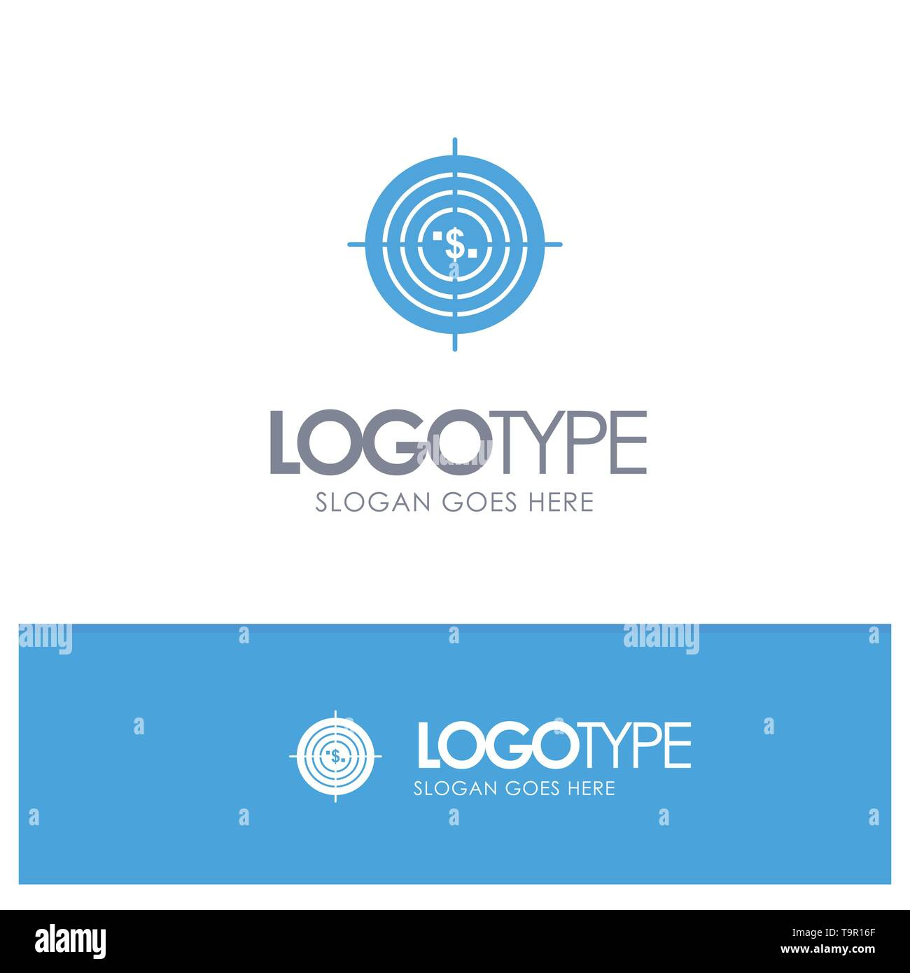Target, Aim, Business, Cash, Financial, Funds, Hunting, Money Blue Solid Logo with place for tagline - Stock Image