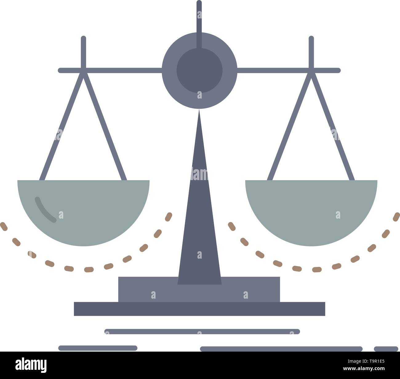 Balance, decision, justice, law, scale Flat Color Icon Vector - Stock Image