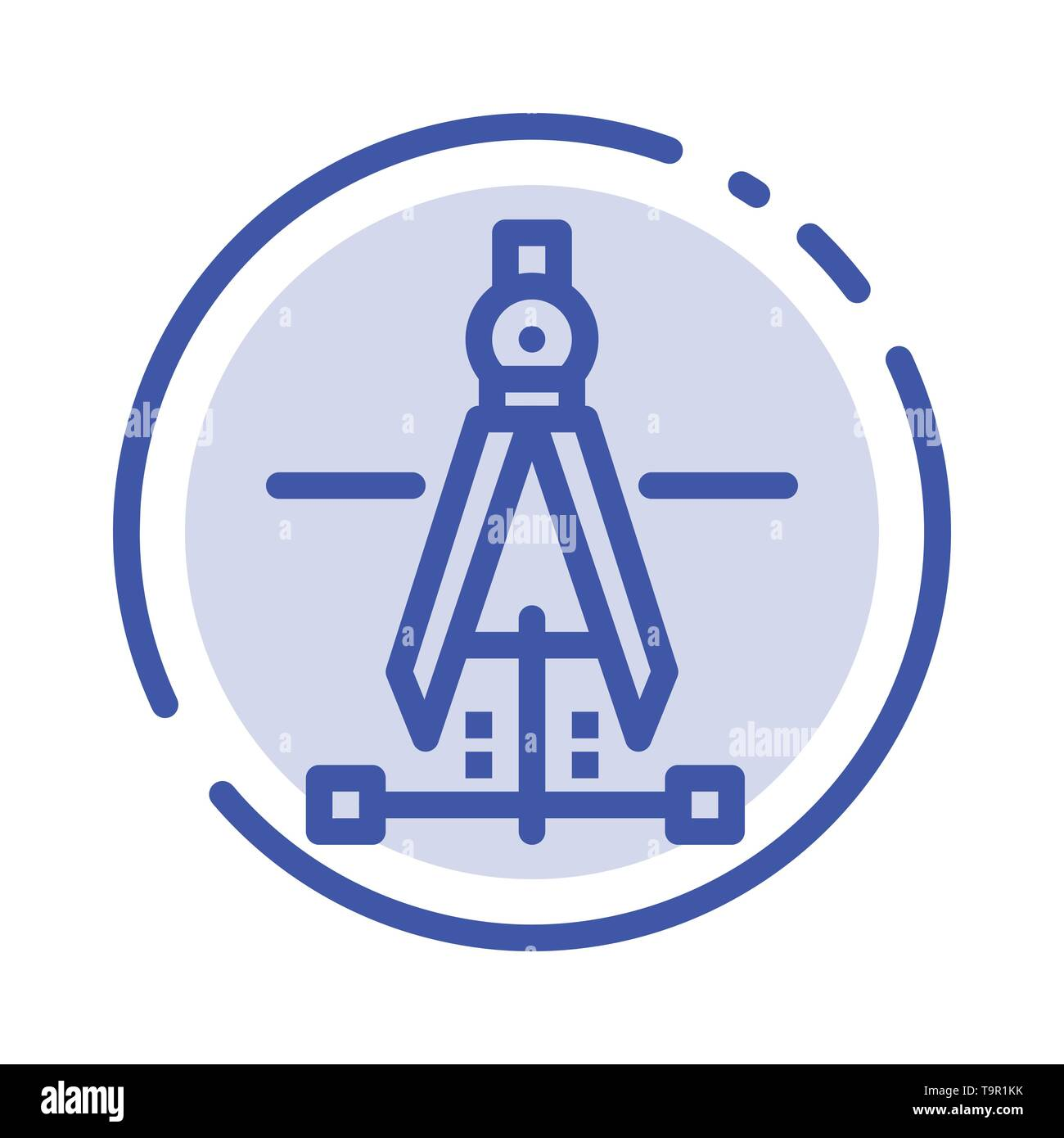 Compass, Drawing, Education, Engineering Blue Dotted Line Line Icon - Stock Image