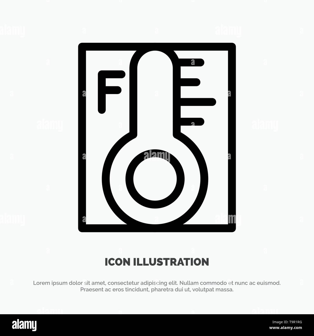 Cloud, Light, Rainy, Sun, Temperature Line Icon Vector - Stock Image