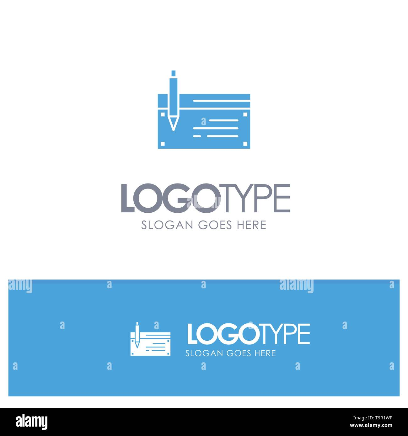 Check, Account, Bank, Banking, Finance, Financial, Payment Blue Solid Logo with place for tagline - Stock Image