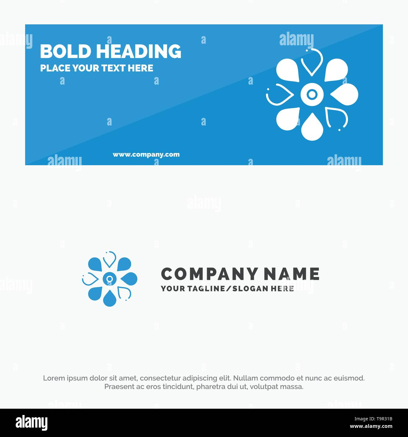 Flower, Sun Flower, Floral, Nature, Spring SOlid Icon Website Banner and Business Logo Template - Stock Image