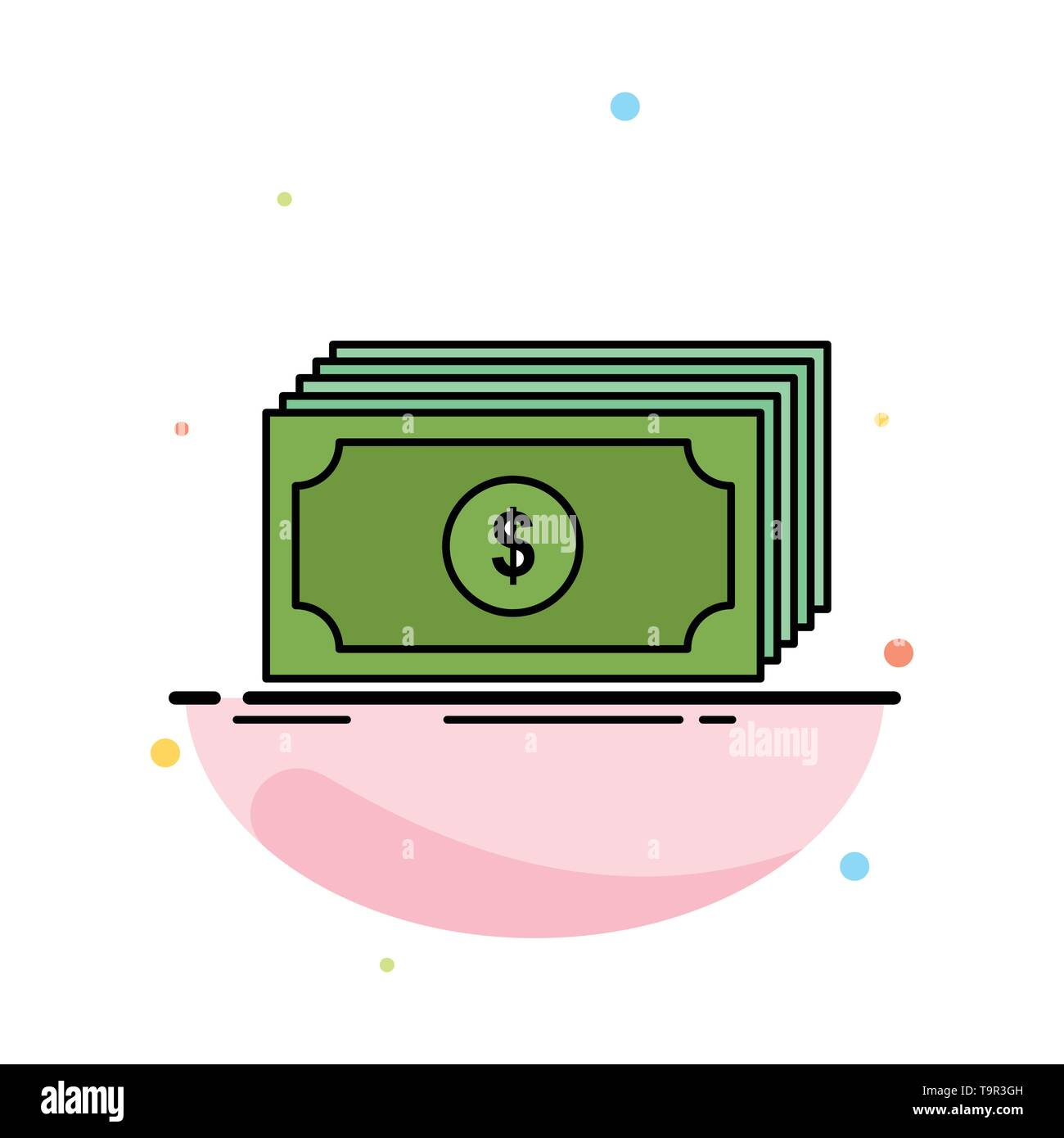 Cash, dollar, finance, funds, money Flat Color Icon Vector - Stock Image