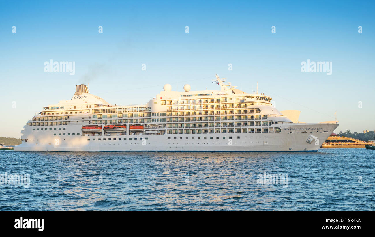 SYDNEY, AUSTRALIA - FEBRUARY 11, 2019: The Seven Seas Navigator cruise liner docking in Sydney Harbour. Stock Photo