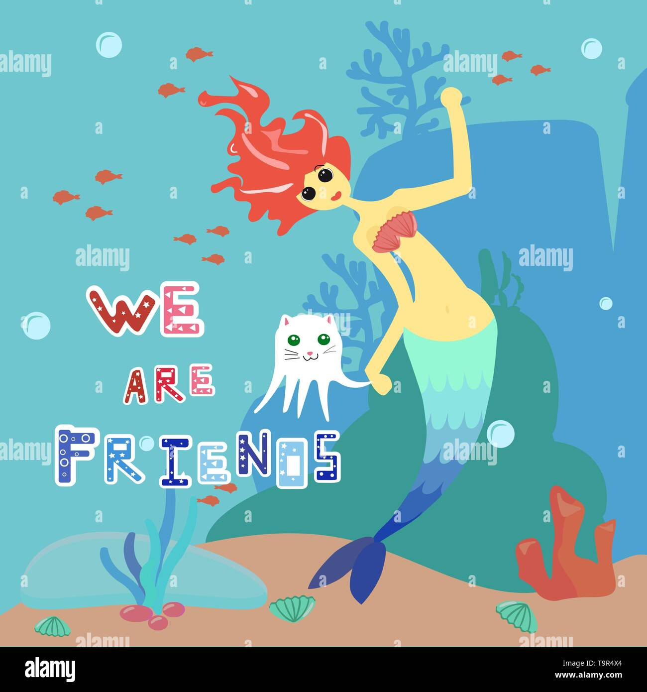 Mermaid and cat-octopus. Cartoon character girl with red hair and blue tail and white pet. The inscription we are friends. Against the backdrop of the - Stock Image