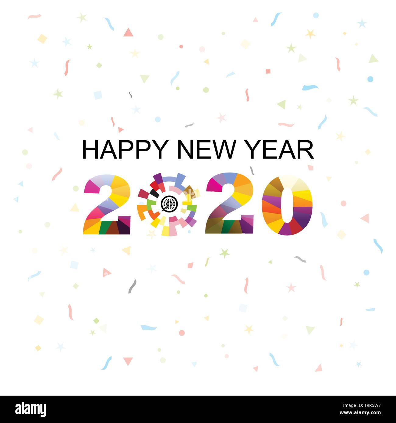 Happy New Year 2020 Background Colorful Greeting Card Design