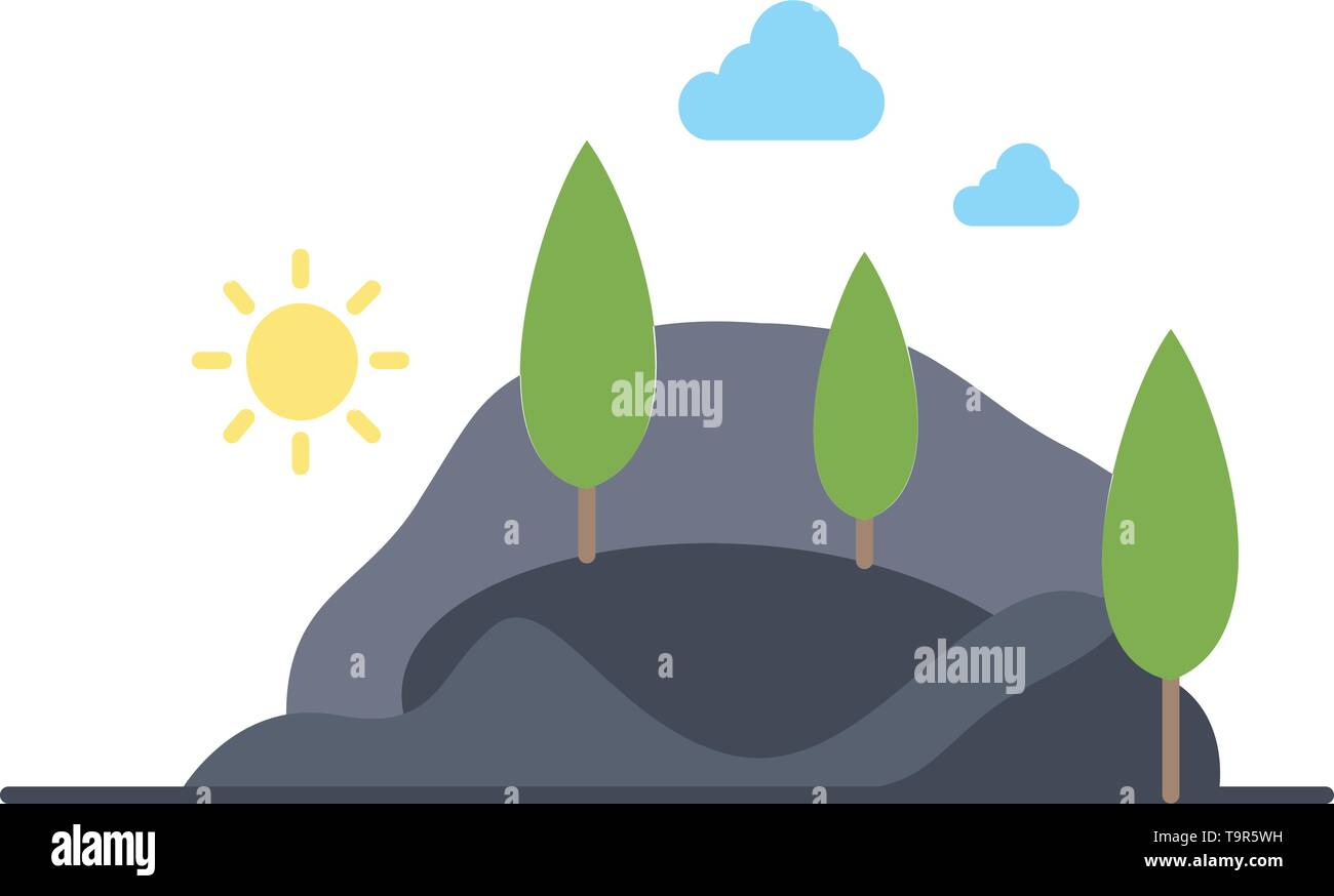 , hill, landscape, nature, mountain, tree Flat Color Icon Vector - Stock Image