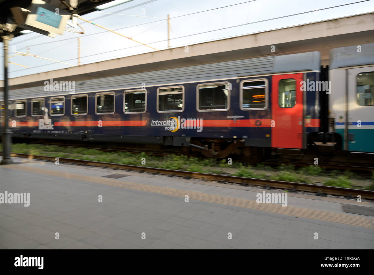 A Night Train (intercity notte) from Lecce to Milano, Italy - Stock Image