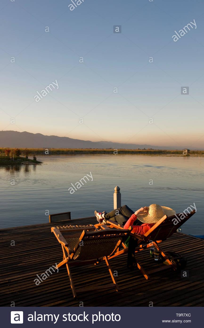 Myanmar, Inle lake, Garden Cottage Inle Resort - Stock Image