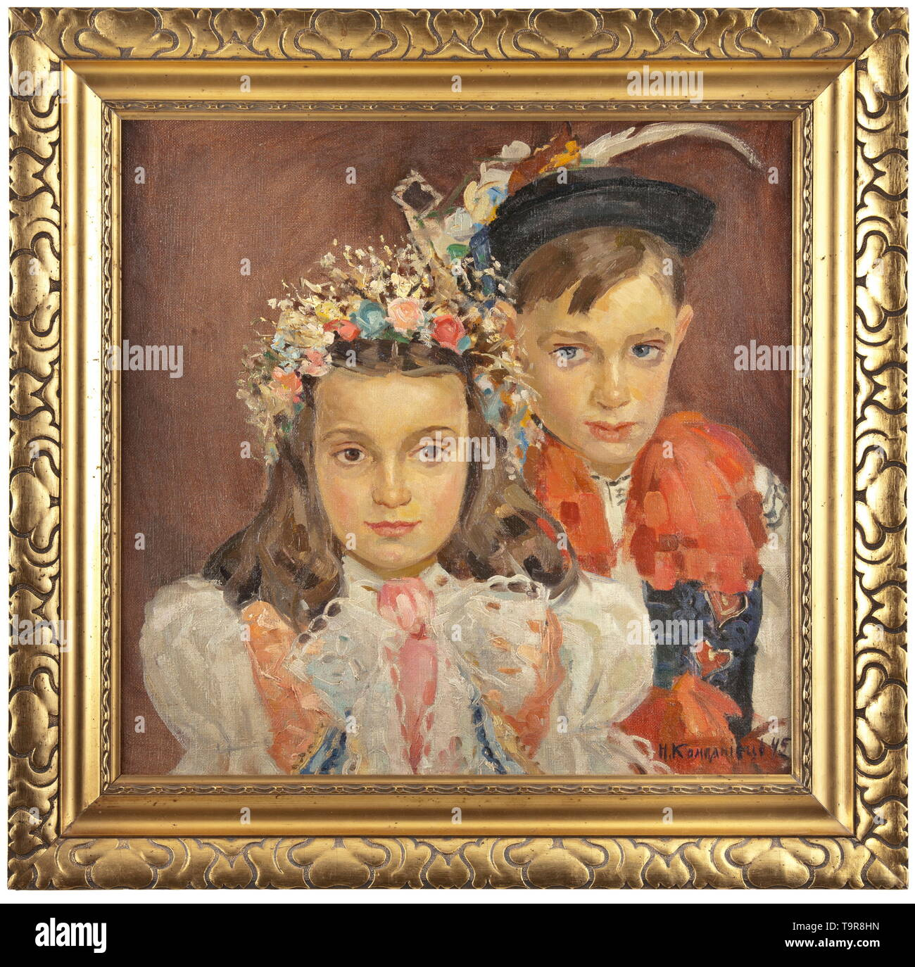 """Nadezhda Dmitrievna Kompaniets-Kiyantshenko (1913 - 2003) - a portrait of two children in carnival costumes Oil on canvas, signed and dated """"N. Kompaniets 45"""" in Cyrillic on the lower left. In the original gilt wooden frame. Dimensions of painting 50 x 50 cm, dimensions of frame 64 x 65.5 cm. Comes with a book listing the works of the painter and her painter family and including a handwritten dedication by the painter's son. Publishing house Kiev 2008. Nadezhda Dmitrievna Kompaniets-Kiyantshenko (1913 - 2003) was a well-known Russian/Ukrainian pa, Additional-Rights-Clearance-Info-Not-Available Stock Photo"""