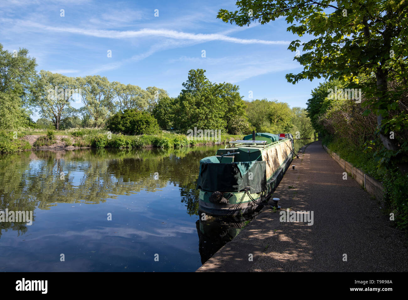 The River Soar at Belgrave in Leicester City, Leicestershire England UK - Stock Image