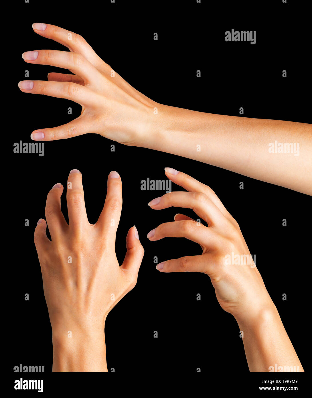 Woman hands with crooked fingers showing magic trick or holding ball - Stock Image