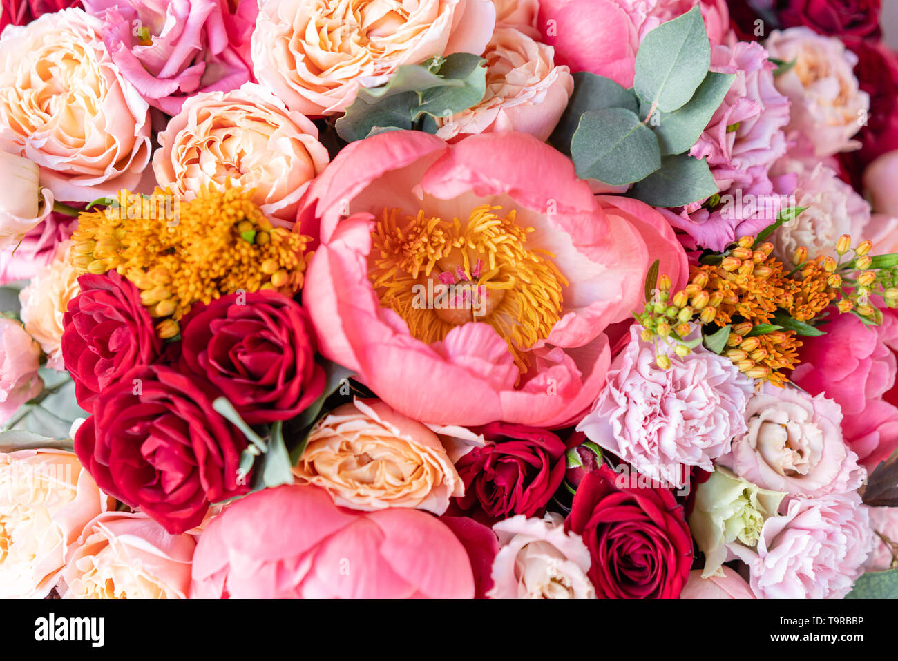 Close Up Large Beautiful Bouquet Of Mixed Flowers Flower Background And Wallpaper Floral Shop Concept Beautiful Fresh Cut Bouquet Flowers Stock Photo Alamy