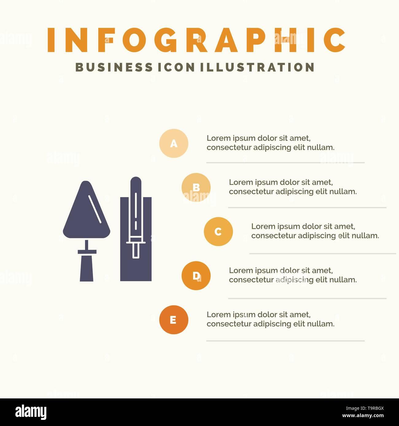Trowel, Brickwork, Construction, Masonry, Tool Solid Icon Infographics 5 Steps Presentation Background - Stock Image