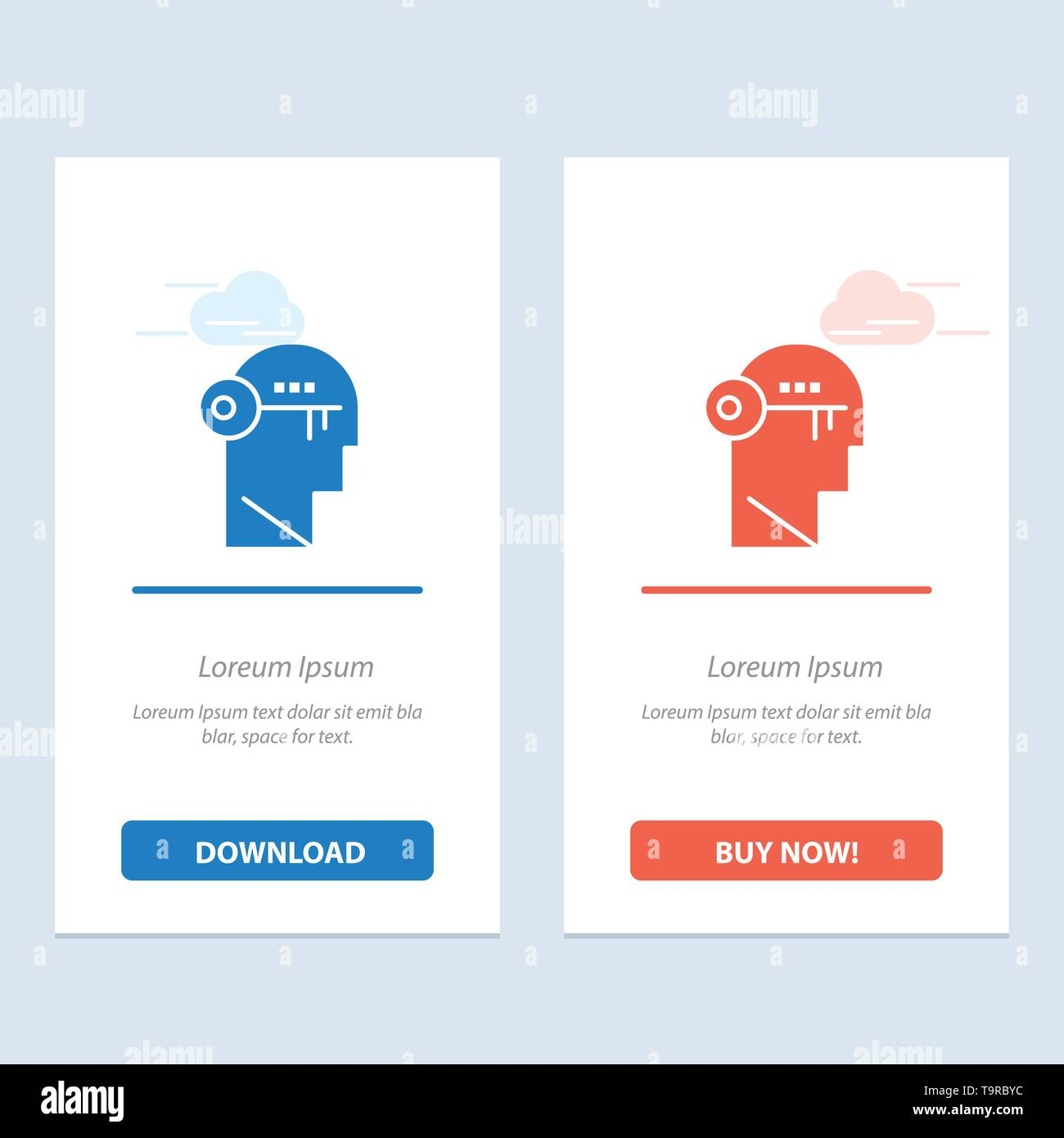 Brain, Key, Lock, Mind, Unlock Blue and Red Download and Buy