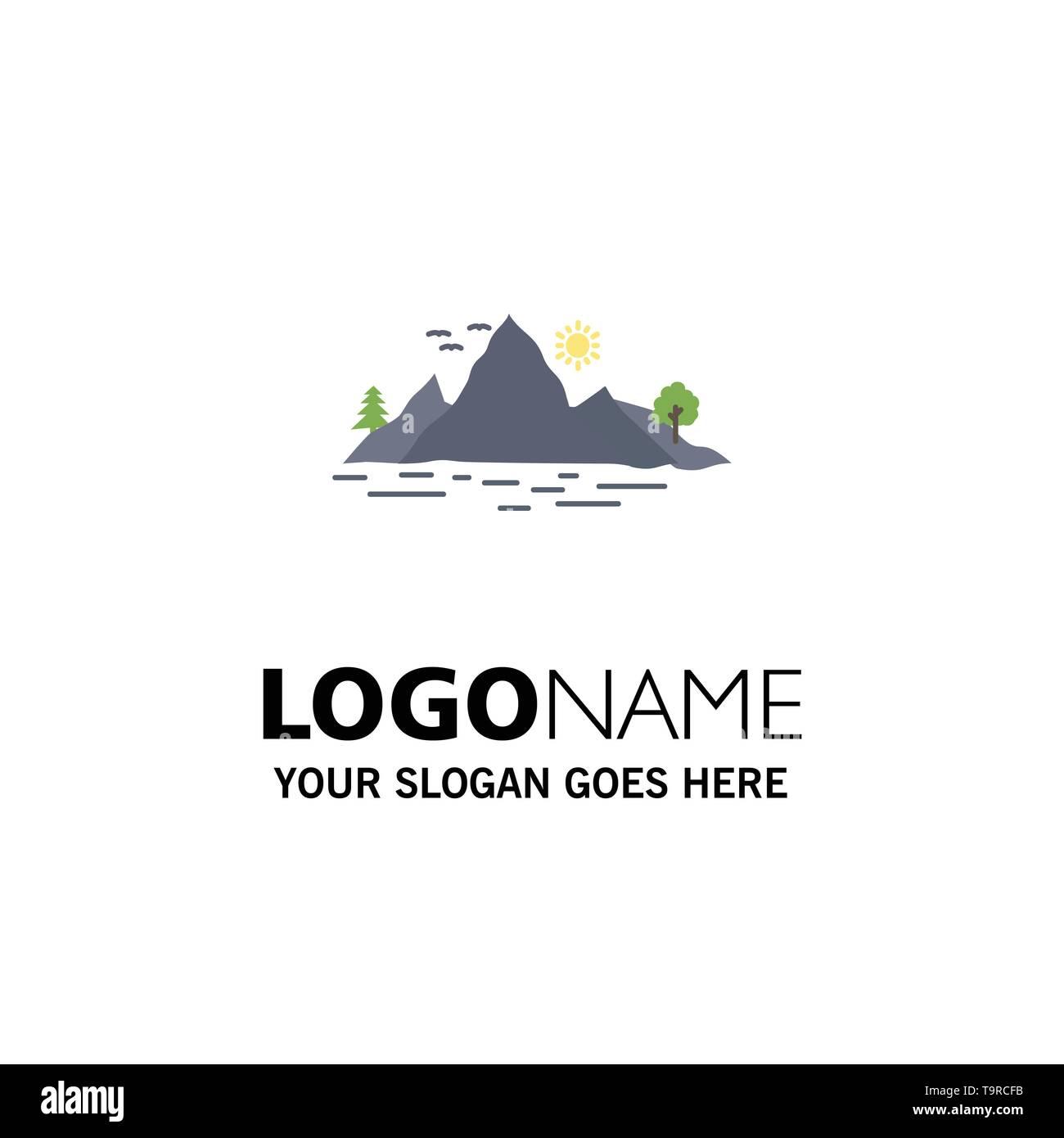 Nature, hill, landscape, mountain, tree Flat Color Icon Vector - Stock Image