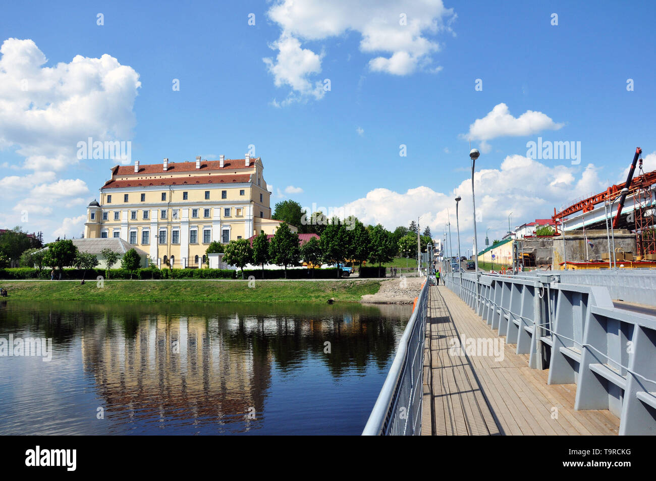 On the shore of Pina. View of the Jesuit Collegium, Pinsk, Belarus - Stock Image