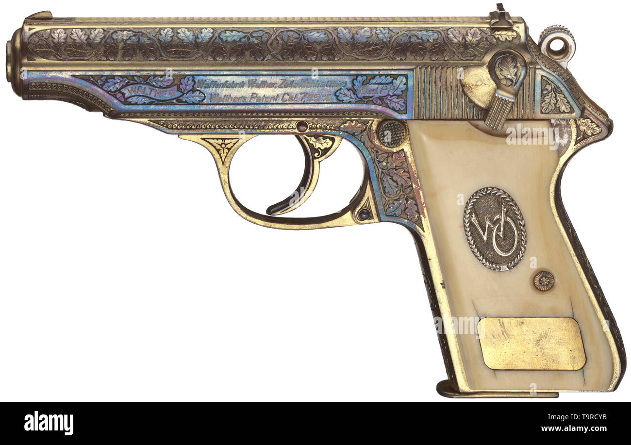 A Walther PP, ZM, honorary weapon of Oberst (Colonel) Walter Oesau, luxury model, factory-engraved, gilded, in its case 7.65 mm calibre, no. 162768P. Bright bore. Manufactured 05/1940. Proof mark crown/N. Zella-Mehlis firm's name. Signal pin. Oak leaf factory engravings on finest punched surface on all parts. Gilding tinged on both sides due to storing in case, lightly matt on grip. Smooth ivory grip panels, darkened due to age. On the left monogram 'WO' within laurel wreath on punched surface, below this vacant badge. On the right textured silve, Additional-Rights-Clearance-Info-Not-Available - Stock Image