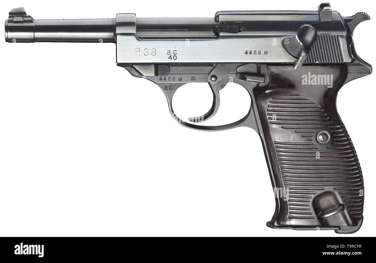 A Walther P 38, code 'ac 40' (40 added), Wehrmacht 9 mm calibre Parabellum, no. 4468a. Matching numbers. Mirror-like bore. Acceptance mark eagle/359 on all parts. Complete original highly polished bluing with weak usage marks. Dark brown Bakelite grip panels. Ulm magazine. A rare, early collector's item from November 1940 production comprising only circa 5.700 weapons with the year '40' engraved after the bluing. A collector's item in very good to mint condition. Erwerbsscheinpflichtig. historic, historical, 20th century, Editorial-Use-Only - Stock Image