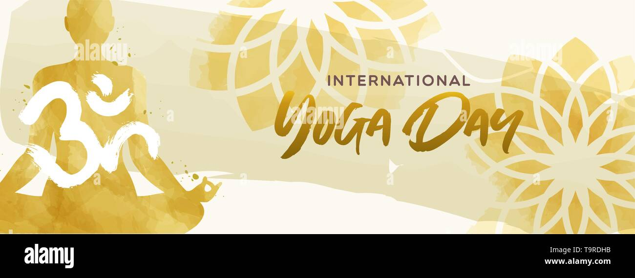 International Yoga Day Banner Illustration Watercolor Art Of Woman Doing Lotus Pose Exercise And Floral Background Stock Vector Image Art Alamy