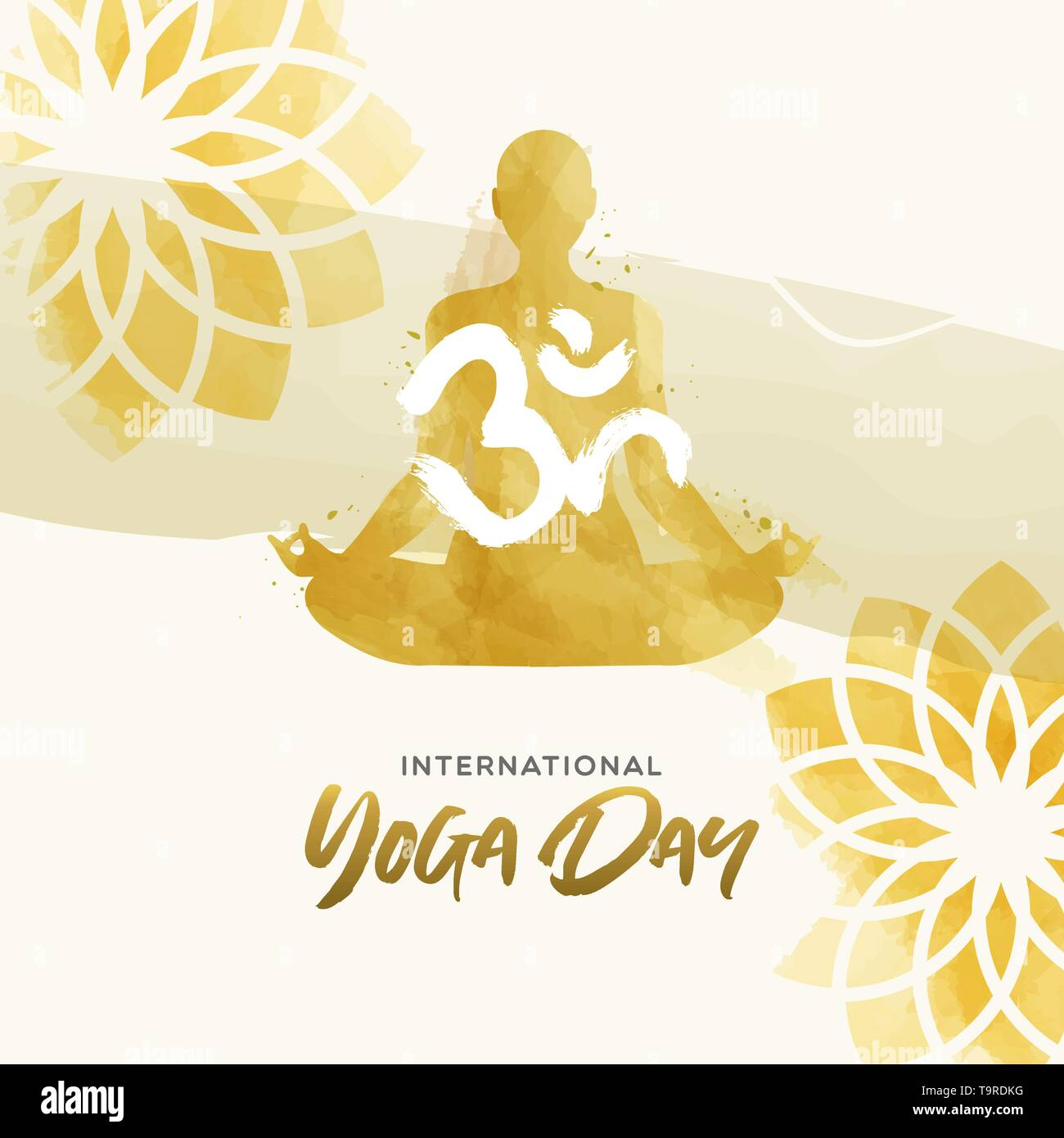 International Yoga Day greeting card illustration. Watercolor art of woman doing lotus pose exercise and floral background. - Stock Vector