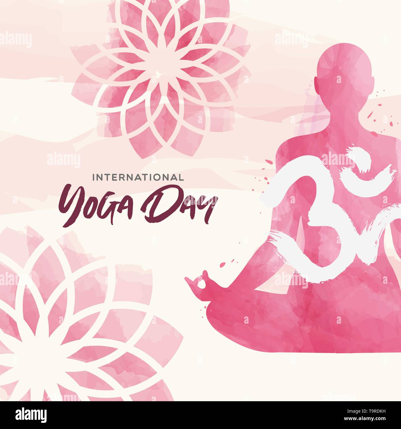 International Yoga Day greeting card illustration. Pink watercolor art of woman doing lotus pose exercise and floral background. - Stock Vector