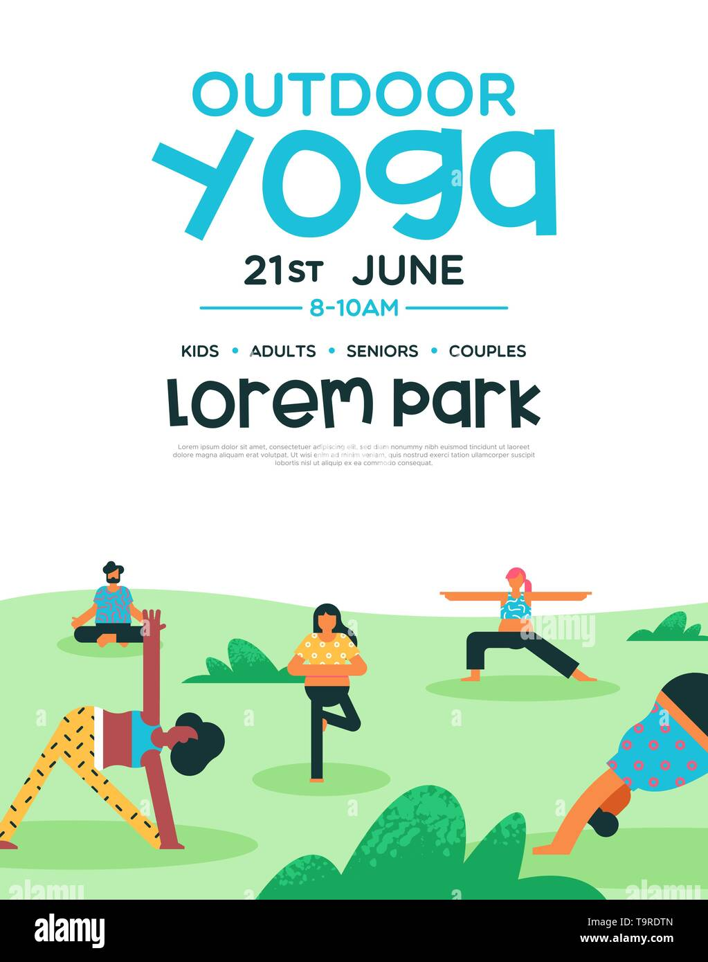 Outdoor Yoga Flyer Template For Health And Fitness Class Or Special Event People Group Doing Meditation Poses At Park Stock Vector Image Art Alamy